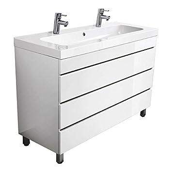 Lomado Badezimmermöbel Doppel-Standwaschtisch, 120 cm Waschbecken ...
