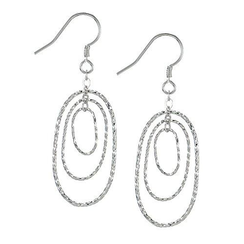 Sterling Silver Diamond-Cut Triple Oval Hoop Dangle Earrings ()