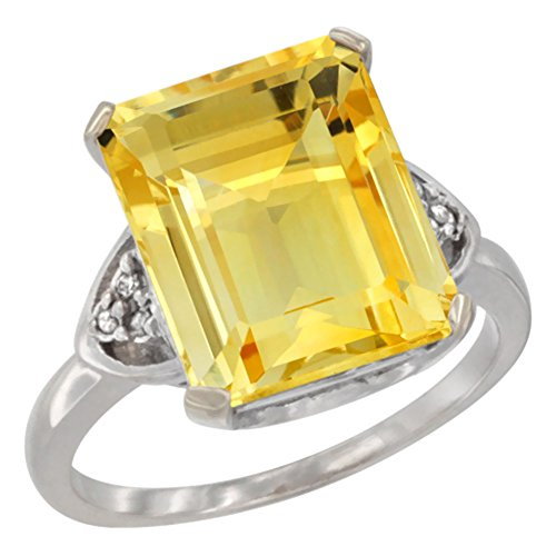 (Silver City Jewelry 10K White Gold Diamond Natural Citrine Ring Octagon 12x10 mm, Size 10)