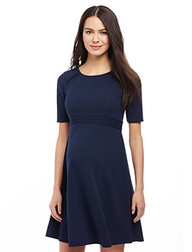 Motherhood Maternity Women's Elbow Sleeve Textured Fit and Flare Dress, Navy, Medium by Motherhood Maternity