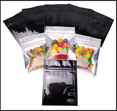 ⭐ 100 Smell Proof Bags - 3x4 inch Mylar Bags Resealable Clear Ziplock FDA Approved Food Safe Plastic Aluminum Material (Black) - by BEST Designs