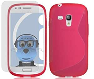 Bloutina iTALKonline Samsung i8190 Galaxy S3 Mini PINK Slim Grip Wave S-Line TPU Gel Case Soft Skin Cover with Screen Protector...