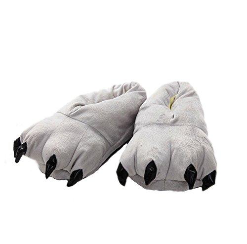 DELEY Unisex Cosplay Animal Traje de Felpa Home Zapatillas Pijama Zapatos Gris