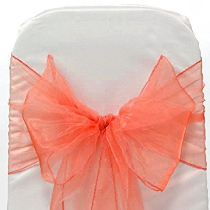 V'Decor オーガンザチェアサッシュ/リボンセットパック 結婚式イベント宴会装飾用チェアリボンサッシュ オレンジ 100 コーラル B072MQ1MYH
