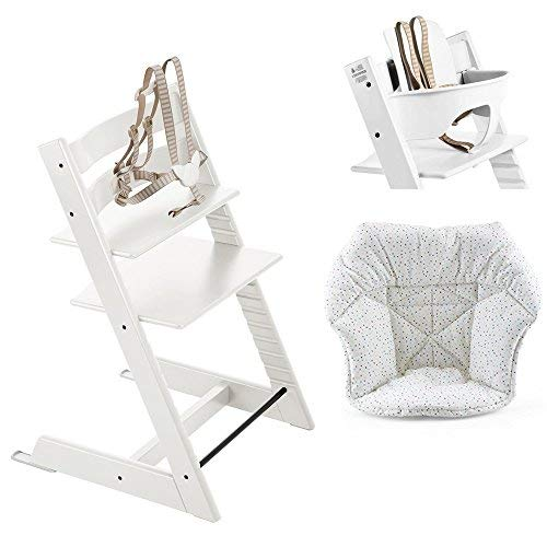 Stokke Tripp Trapp High Chair, Baby Set - White & Mini Cushion - Cloud Sprinkle (Stokke Tripp Trapp High Chair Complete Bundle)