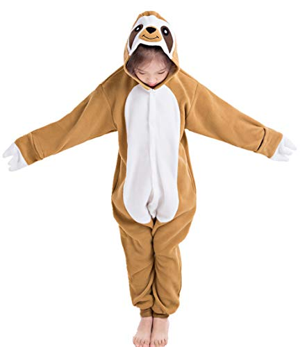 NEWCOSPLAY Unisex Children Sloth Pyjamas Halloween Kids Onesie Costume (125, Brown Sloth) ()
