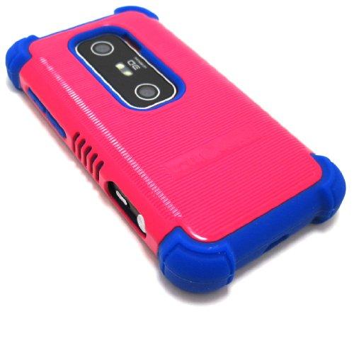 Cell-Nerds NerdShield GRIP Case Cover for for Sprint HTC EVO 3D / Virgin Mobile HTC EVO V 4G (Pink on Blue) (Htc Evo V 4g Case Virgin Mobile)