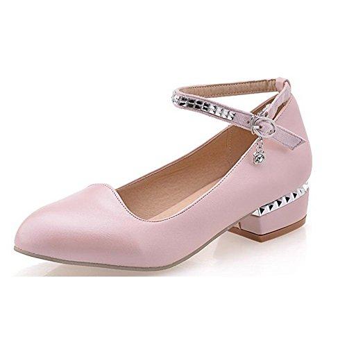 7022ce680adb88 AllhqFashion Damen Rund Zehe Niedriger Absatz Schnalle Eingelegt Pumps  Schuhe Pink
