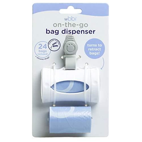 41BojSlTnKL - Ubbi Retractable On The Go Bag Dispenser, Lavender Scented, Baby Gift, White
