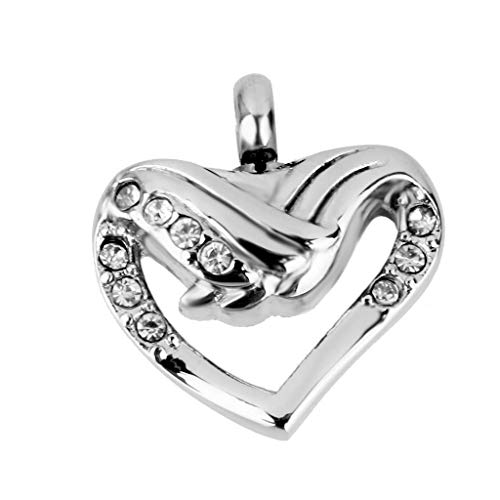 Cremation Jewelry Ash Holder Heart Wings Rhinestone Keepsake Pendant Jewelry