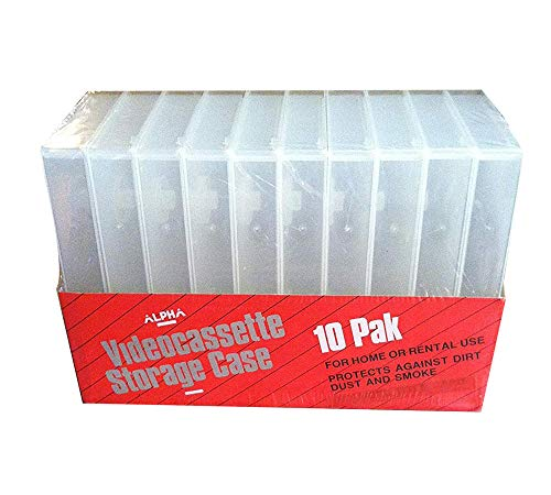 10 Pack Clear Plastic Vhs Tape Video Cassette Storage Cases