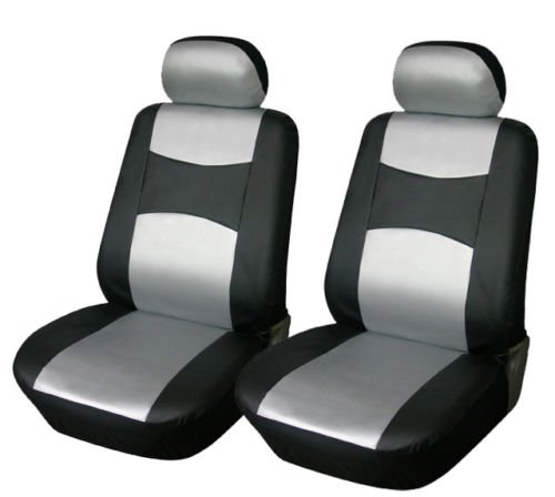 [OPT® Brand. Vinyl Leather 4PC SET Mitsubishi Front Car Auto Seat Covers, Black/Silver Silver Color, CM7777159-BK/SIL. Free Shipping From New York.] (Mitsubishi Mirage Vinyl)