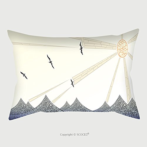 Custom Cotton Linen Pillowcase Protector Abstract Vector Horizontal Banner Mosaic Wave With Sun And Birds As Handmade Stained Glass 221074156 Pillow C…