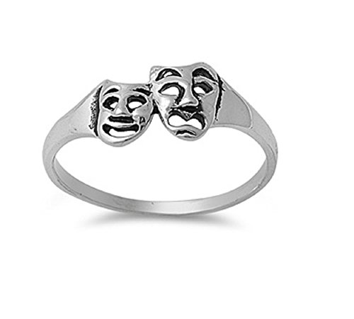 Sterling Silver Comedy Tragedy Masks Ring Size 5
