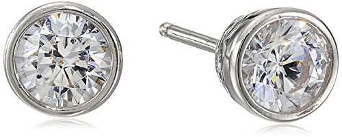 Platinum Plated Sterling Silver Bezel Stud Earrings set with Swarovski Zirconia (1 cttw)