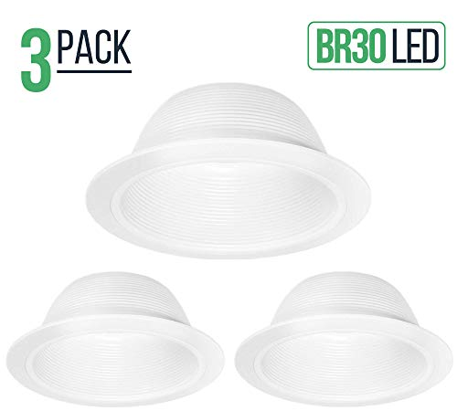 6'' Inch White Baffle Recessed Can Light Trim, Stepped, for BR30/38/40, PAR30/38, LED, Incandescent, CFL, Halogen (3 Pack) by Four-Bros Lighting (Image #5)