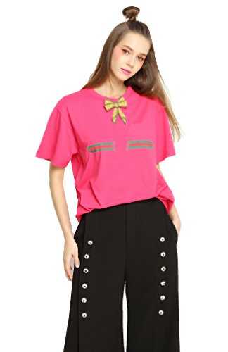 Eileen&Elisa Fashion Loose Pink T-Shirt for Women Summer with Bow