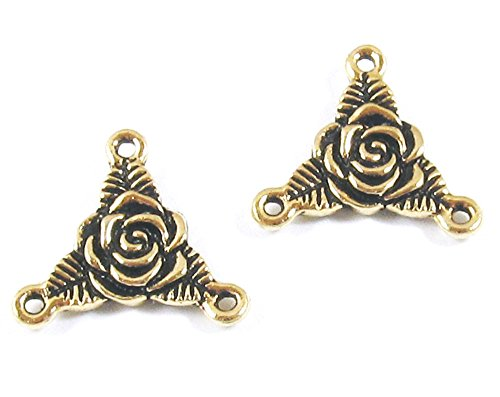 TierraCast Pewter Rosary Connector Link-GOLD ROSE TRINITY (2)