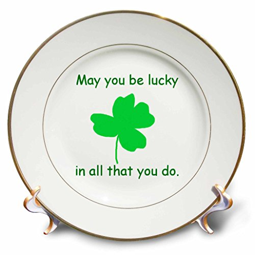 Shamrock Porcelain - 3dRose cp_41480_1 May You be Lucky in All That You Do Green Shamrock-Porcelain Plate, 8-Inch