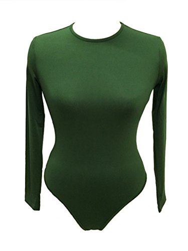 iToolai Women Long Sleeve Bodysuit Leotard Snap Button Thong (Large, Green)]()