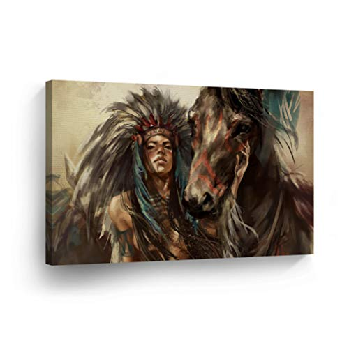 SmileArtDesign Indian Wall Art Sexy Native American Girl and The Horse Canvas Print Home Decor Decorative Artwork Gallery Wrapped Wood Stretched and Ready to Hang -%100 Handmade in The USA - 24x36