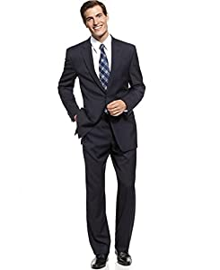 B00M8KJQIW Michael Kors Modern Fit Solid Blue Two Button Wool Suit (44 Long / 37 Waist)