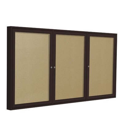 3 Door Outdoor Enclosed Bulletin Board Size: 4' H x 6' W, Frame Finish: Satin, Surface Color: Navy