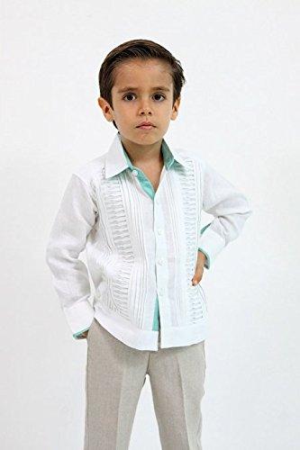 e4af52643 Guayabera de Lino Para Nios Color Blanco y Verde Aqua ropa