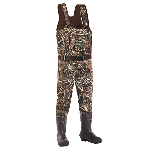 TideWe Chest Wader, Camo Hunting Wader for Men, Waterproof Cleated Neoprene Bootfoot Wader, Insulated Hunting Fishing Wader Realtree MAX5 Camo