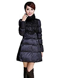 Queenshiny New Style Women's Polyester Down Coat with Lace Trimming