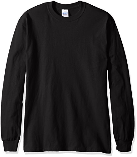 Gildan Men's Ultra Cotton Jersey Long Sleeve Tee, Black, Medium
