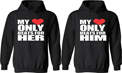 My Heart Only Beats for Him & Her - Matching Couple Hoodies - His and Her Love Sweaters