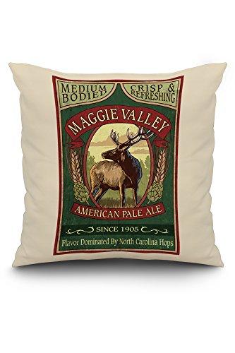 (Maggie Valley, North Carolina - Elk Pale Ale Vintage Sign (20x20 Spun Polyester Pillow, White Border))