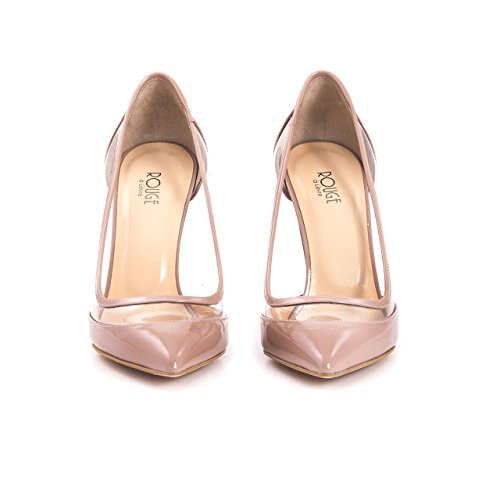Damen Stilettos Premium Lackleder Echtleder Pumps Spitz High Heels Elegant Transparent Durchsichtig, Hochzeit Brautschuhe Abendschuhe Elegant Festlich Feierlich Puder Lack