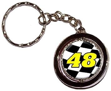 48 Número bandera a cuadros RACING redondo Spinning llavero ...
