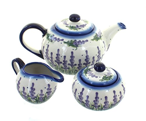 3 Piece Pottery Roses - Blue Rose Polish Pottery Lavender Fields 3 Piece Tea Set