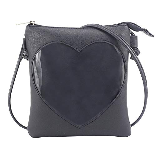 (SteamedBun Ita Bag Heart Crossbody Bags for Women Girls Small Clear Phone Wallet Shoulder Purse with zipper (Black_no glitter))
