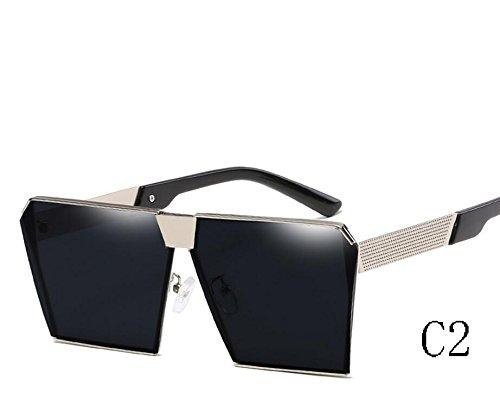 Hombre TIANLIANG04 De Azul Sol Sobredimensionado De Color C2 Mujer Metal Reborde Espectáculo Grey Inusual Lentes Escudo Gafas C4 Hexagonal Estructura 2323 Único 2323 qqrEXS