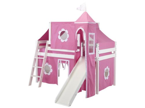 Jackpot Princess Low Loft White Bed with Slide, Pink and White Tent and Tower