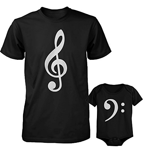 Bass Xl Set (Table Clef Father Shirt And Bass Clef Infant Onesie Outfit Set Fathers Day Gift (DAD-XL, ONESIE-24M))
