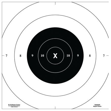 Law Enforcement Targets B-8C-P Replacement Center For B-8 Bullseye Targets 10.5x10.5 Inch Black