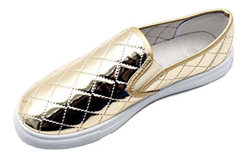 Kenna Special Metallic Gold Quilted Fashion Slip Resistant Round Toe Sport Tennis Athletic Slip On Laceless Lightweight Sneakers Back to School Shoes Supplies for Sale Women Teen Girl (Size 7.5, Gold)
