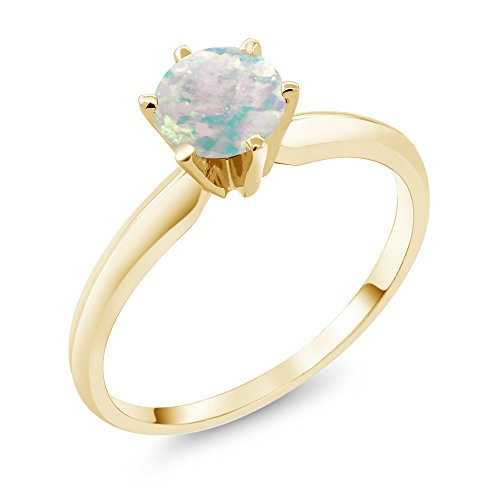 Cabochon 14k Yellow Gold Ring (0.30 Ct Cabochon White Simulated Opal 14K Yellow Gold Engagement Solitaire Ring (Size 5))