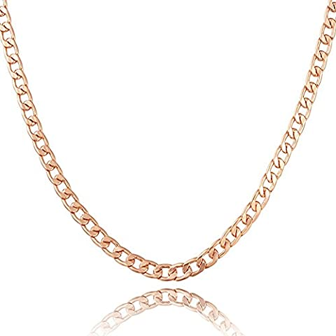 """MONJER 5MM Wide Men's Rose Gold Plated Cuban Curb Link Figaro Flat Chain Necklace for Men Women with """"18K"""" Stamp - - Flat Curb Link Chain"""