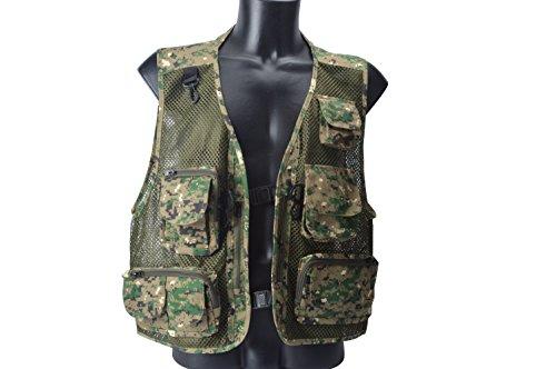 Amarine-made Mens Mesh Breathable Openwork Camouflage Journalist Photographer Fishing Vest Waistcoat Jacket Coat - 815