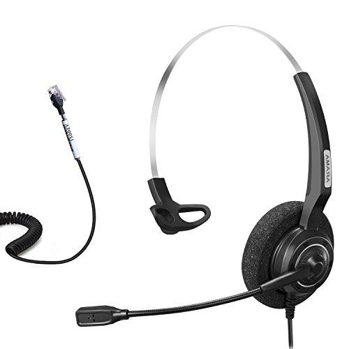 Avaya Phone Headsets (Arama Telephone Headset Mono w/ Noise Canceling Mic for Aastra Adtran Alcatel Lucent Allworx AltiGen AVAYA Comdial Digium Gigaset InterTel Mitel MiVoice Plantronics Landline Deskphones (A200S1))