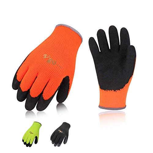 Orange Gardening Gloves - Vgo 3Pairs Foam Latex Coated Winter Gardening and Work Gloves (Size L,Black+High-Vis Orange+Green,RB6010)