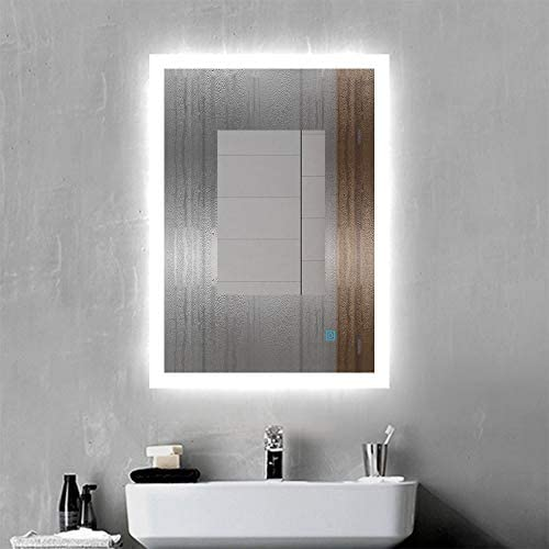 Xinyang 500x700 Rectangular Heated Bathroom Mirror with Touch Lights,Wall Mounted,IP44,Vertical or Horizontal