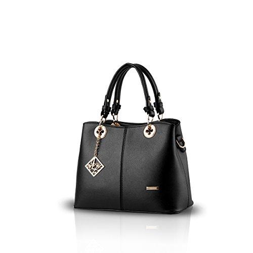 NICOLE&DORIS New Women/Female Fashion Boutique Top Handle Handbag Crossbody Shoulder Purse Tote Satchel PU black