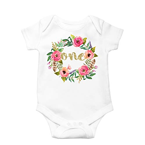 Olive Loves Apple Girls 1st Birthday Onesie Watercolor Floral Boho Birhday Onesie, Gold, 12-18 months long sleeve
